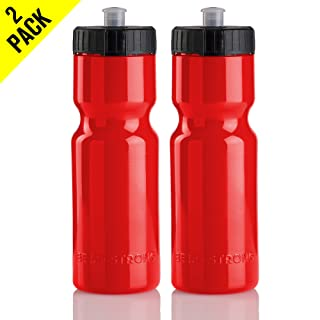 50 Strong Sports Squeeze Water Bottle 2 Pack - 22 oz. BPA Free Easy Open Push/Pull Cap - Made in USA y Red