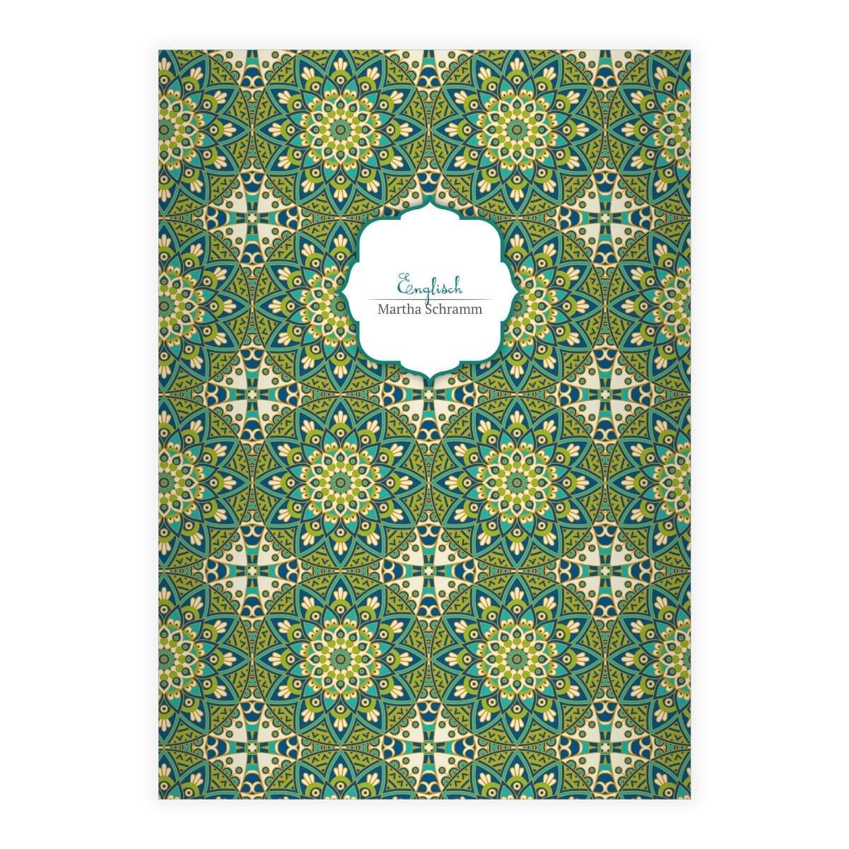 Kartenkaufrausch 2 personalisierte, Grafische Ethno DIN A5 Schulhefte, Rechenhefte mit Sternen Muster im Boho Stil in blau grü n Lineatur 5 (kariertes Heft)