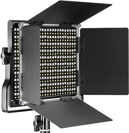 Todo para el streamer: Neewer LED Bi-color Regulable con Soporte en U y Barndoor Luz de Video para YouTube, Fotografía de Productos, Video, Marco de Metal Durable, 660 LEDs, 3200-5600K, CRI 96+