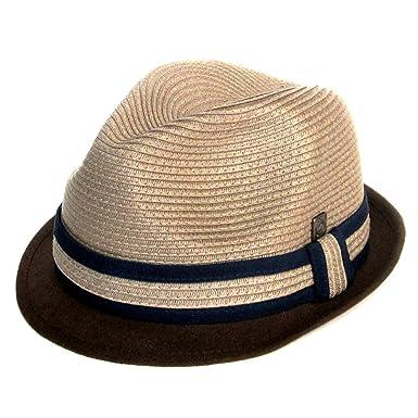 5a444d2754c7b4 Dasmarca Mens Skimpy Brim Retro Summer Straw Trilby Hat - Paxton Mocha S