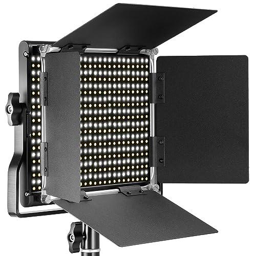 Neewer 660 LED Luce Dimmerabile Bicolore con Supporto Staffa-U e Barndoor Luce Professionale per Studio, YouTube, Foto di Prodotti e Registrazioni Video, Guscio in Metallo Durevole(Spina UE)