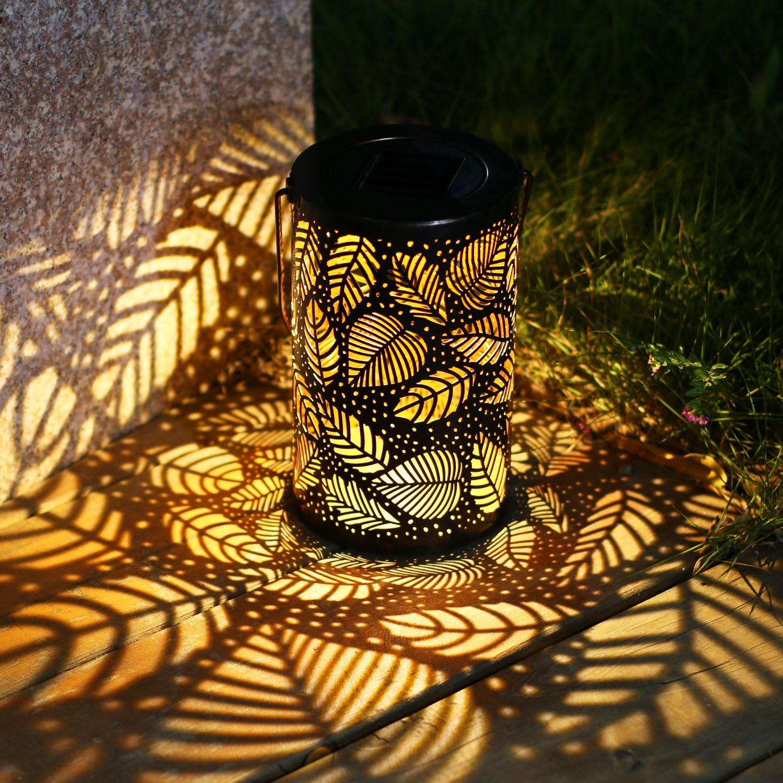 Leaf Pattern Metal Solar Lamp