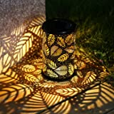 TAKE ME Solar Lantern Lights OutdoorGarden Hanging Lights Metal Leaf Pattern Lights Lamp for PatioOutside or Table