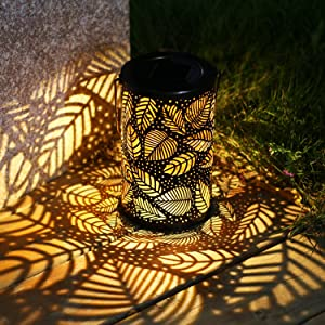 TAKE ME Solar Lantern Lights Outdoor,Garden Hanging Lights Metal Leaf Pattern Lights Lamp for Patio,Outside or Table (Leaf.)
