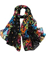 Aven Women Classy Cotton Voile Print Colorful Flowers Long Scarf Shawl Wrap