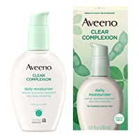 Aveeno Clear Complexion Salicylic Acid Acne-Fighting Daily Face Moisturizer for Breakout-Prone Skin & Uneven Tone, Total Soy Complex, Oil-Free, Hypoallergenic & Non-Comedogenic, 4 fl. oz