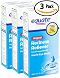 Equate Redness Reliever Sterile Eye Drops 0.5oz Dropper Bottle 3 Pack. Lubricant Gives Long Lasting Relief for Burning, Itching, & Dryness Fast! Cures Red Eyes with Active Ingredient Tetrahydrozoline.