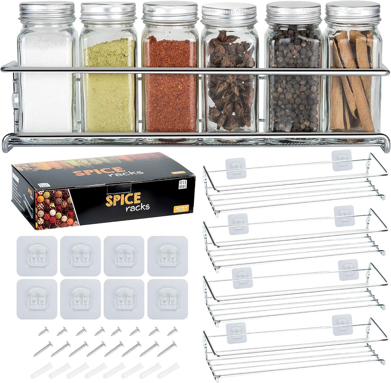 Deco Haus Organizador Especias - Set 4 Estantes de Metal - Estantes de Cocina, Armario, Organizador de Condimentos - Compatible con Nuestros Frascos - Adhesivos o con Tornillos - Plata, 29x6.35x5cm