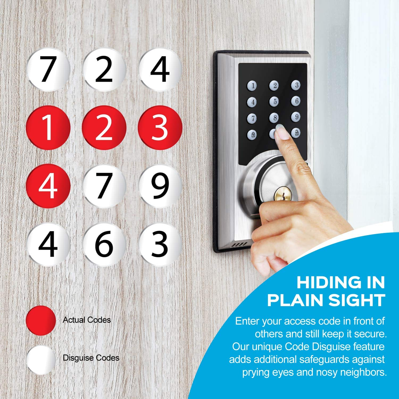 TURBOLOCK TL-201 Electronic Keypad Deadbolt Keyless Entry Door Lock w/Code Disguise, 21 Programmable Codes, 1-Touch Locking + 3 Backup Keys, Bronze by TURBOLOCK (Image #5)