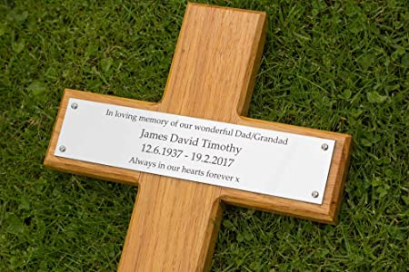 Wooden Memorial Cross Grave Marker With Engraved Silver Or Brass