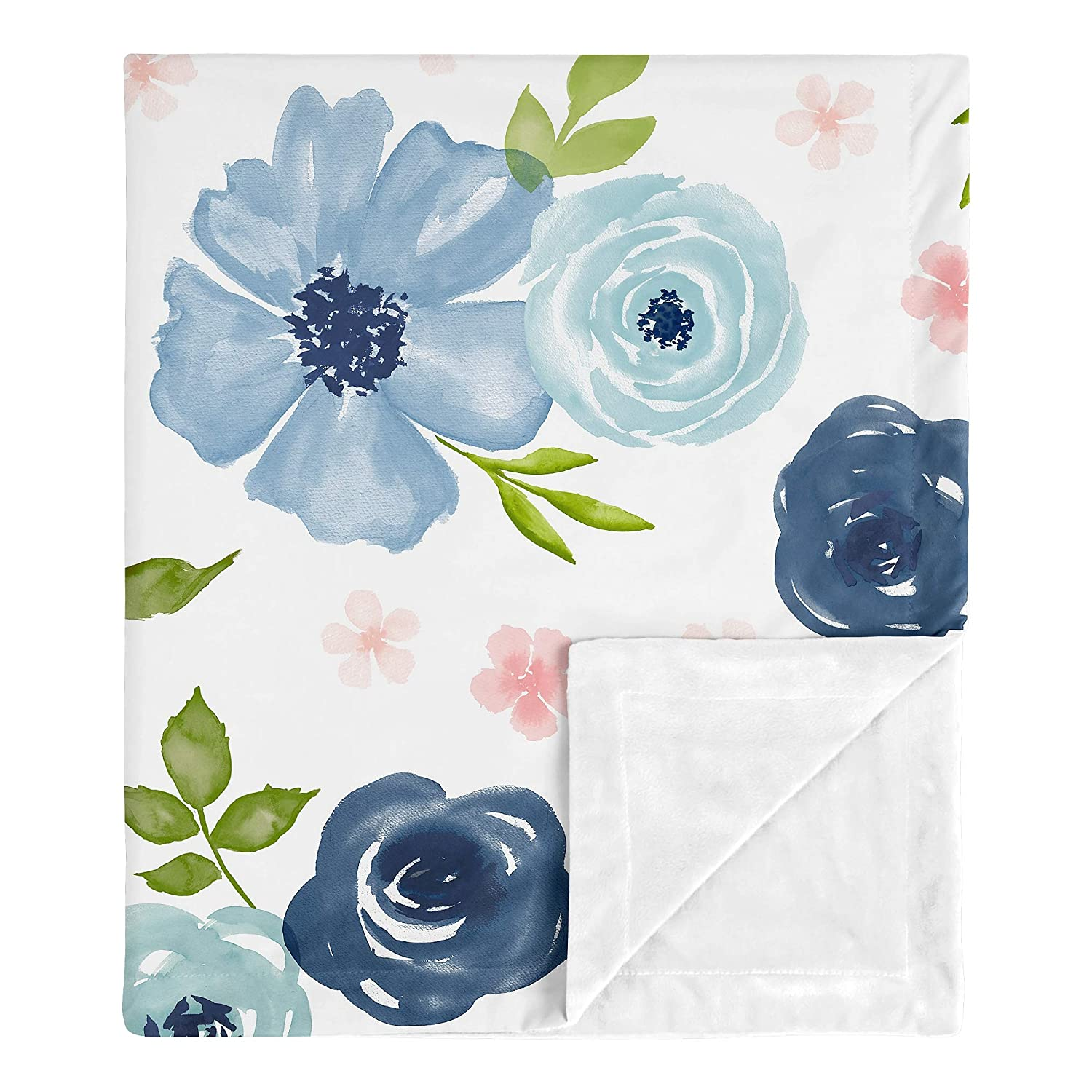 Sweet Jojo Designs Navy Blue and Pink Watercolor Floral Baby Girl Receiving Security Swaddle Blanket for Newborn or Toddler Nursery Car Seat Stroller Soft Minky - Blush Green White Shabby Chic Flower