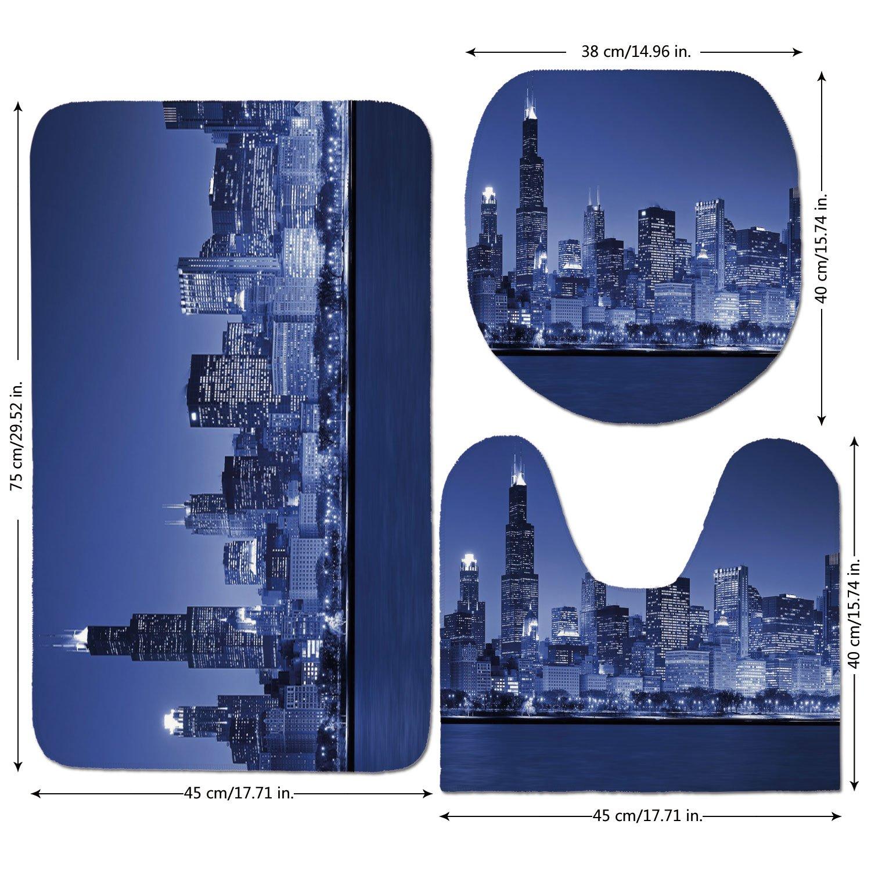 3 Piece Bathroom Mat Set,Usa,Chigago City Skyline at Night with Tall Buildings Urban Modern Life America Town Scene,Violet Blue,Bath Mat,Bathroom Carpet Rug,Non-Slip