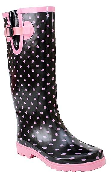 A & H Gummistiefel für Damen, Wadenweite verstellbar, wasserdichtes Gummi,Größen EU 36 - 41, - Black/Pink Spots - Größe: 39