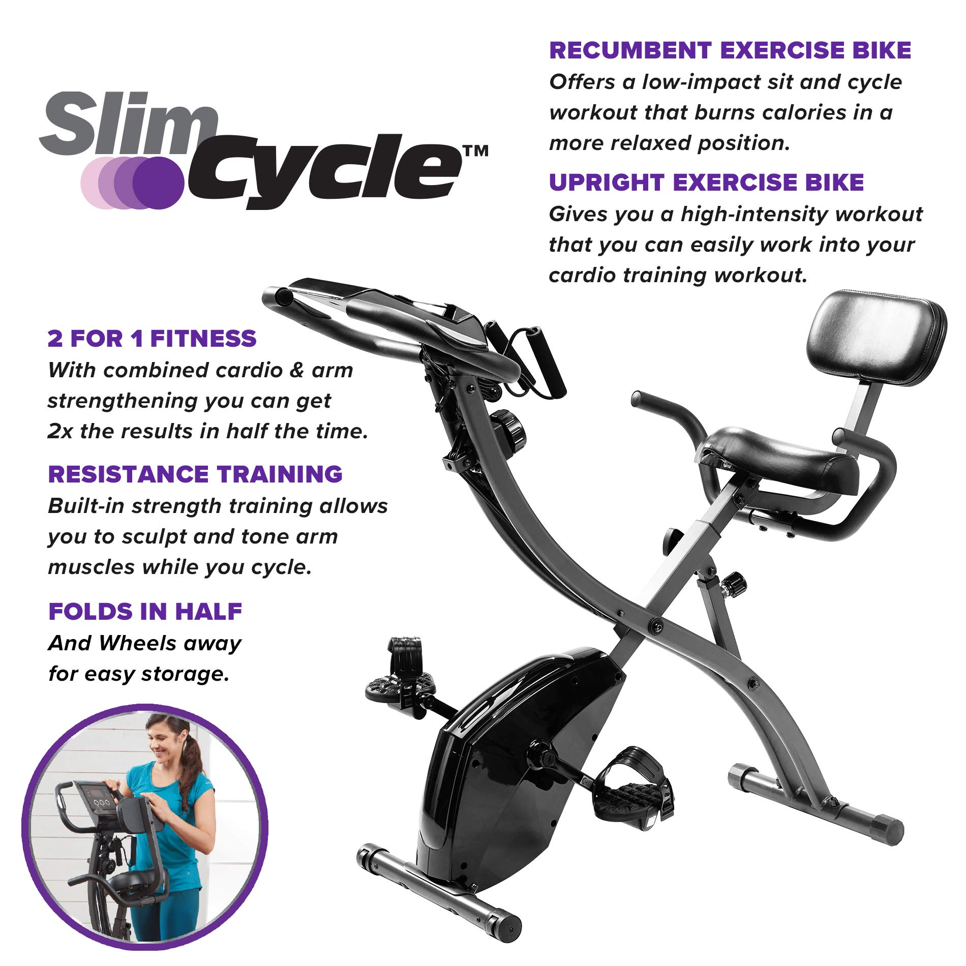 Slim Cycle 2-in-1 Stationary Bike - Folding Indoor Exercise Bike with Arm Resistance Bands and Heart Monitor - Perfect Home Exercise Machine for Cardio by BulbHead (Image #2)