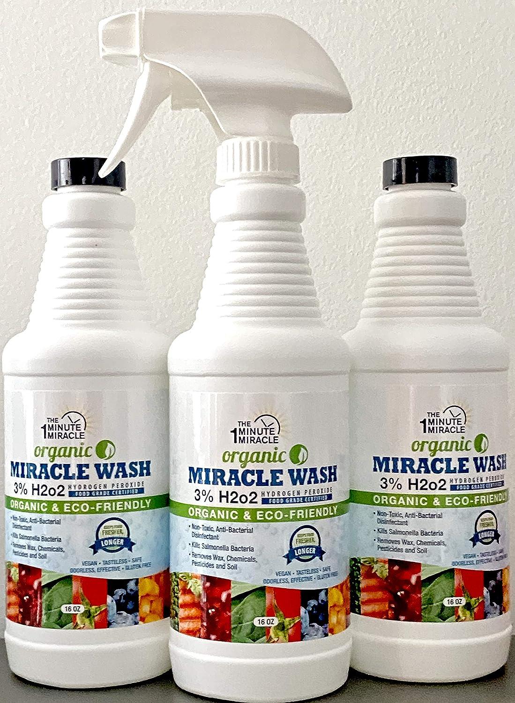Miracle WASH - Hydrogen Peroxide Food Grade - 3 Bottles 16 oz Each