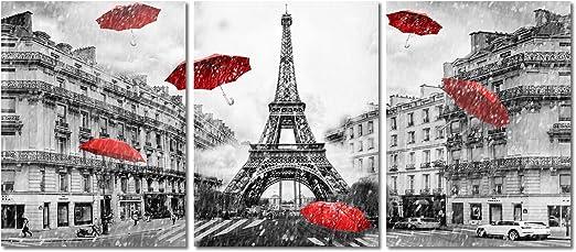 Paris rain Grey skies oil painting NOT a print or poster hope love umbrella