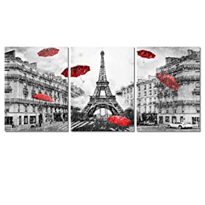 Decor MI Modern Wall Art Paris France Eiffel Tower Home Decor Umbrellas Romantic Couple Poster Prints Pictures of Paris on Canvas Framed for Living Room 12x16 inch 3 Panels