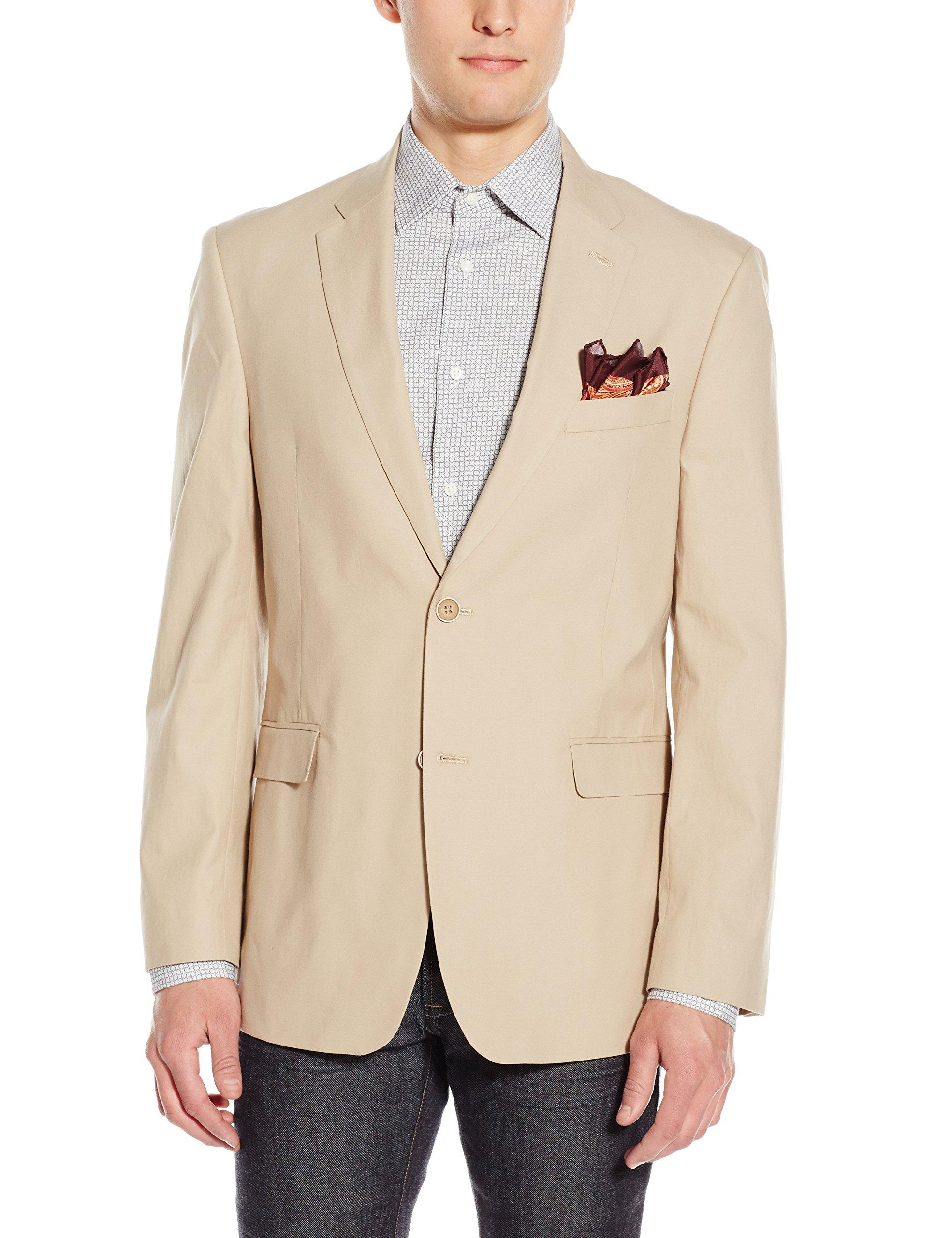 Tommy Hilfiger Men's Two Button Stretch Suit Separate Jacket, Khaki, 42 Long