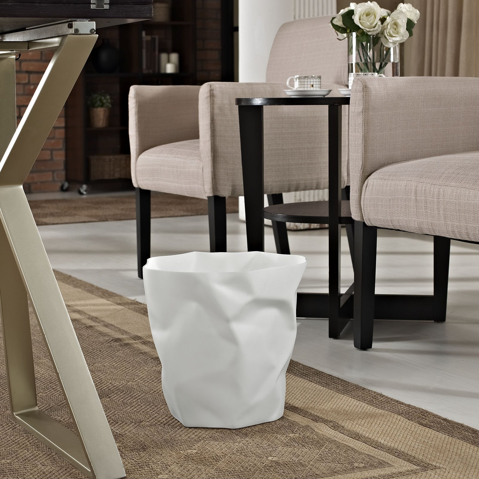 Modern Contemporary Trash Bin White by America Luxury - Accessories (Image #4)