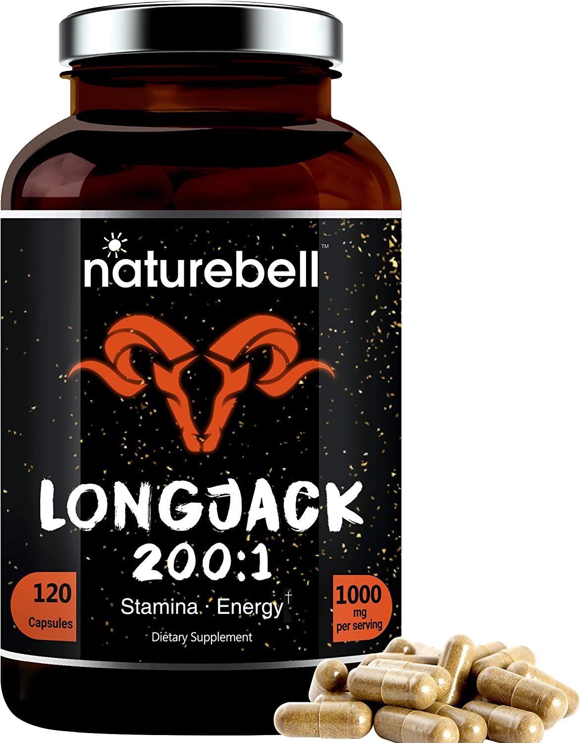 Long Jack Extract as Tongkat Ali 200:1, 1000mg Per Serving, 120 Capsules, Supports Energy, Stamina and Immune System for Men and Women, Super LongJack Pills, Non-GMO: Health & Personal Care