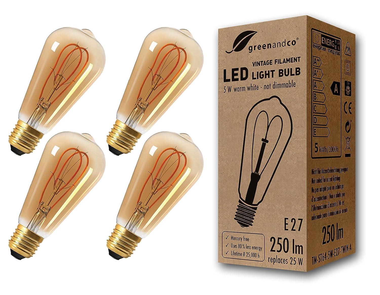 2 Jahre Garantie greenandco/® Vintage Gl/ühfaden LED Lampe ersetzt 16W E27 3W 150lm 2000K extra warmwei/ß 360/° 230V flimmerfrei nicht dimmbar