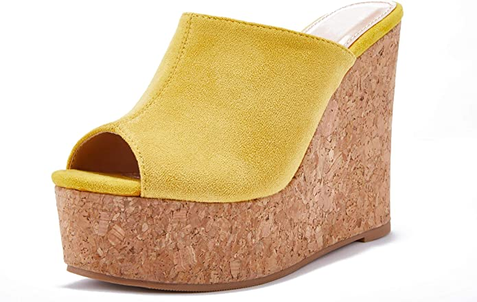 Details about  /5-15 Womens Cork Wedge High Platform Slide Sandals High Heels Mules Black Sz