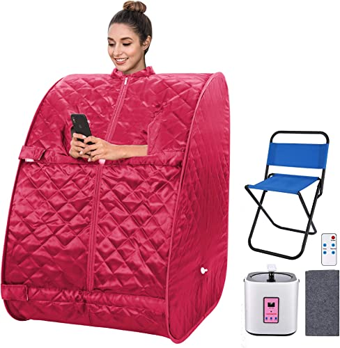 Angotrade Portable Steam Sauna, Personal Therapeutic Sauna Tent Home Spa for Weight Loss Detox Relaxation Slimming,One Person Sauna with Remote Control,Foldable Chair,Timer