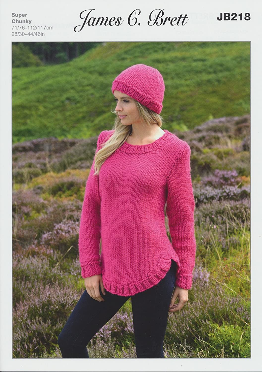 James Brett  Super Chunky Knitting Pattern Ladies Sweater /& Hat With Ribbed Detail