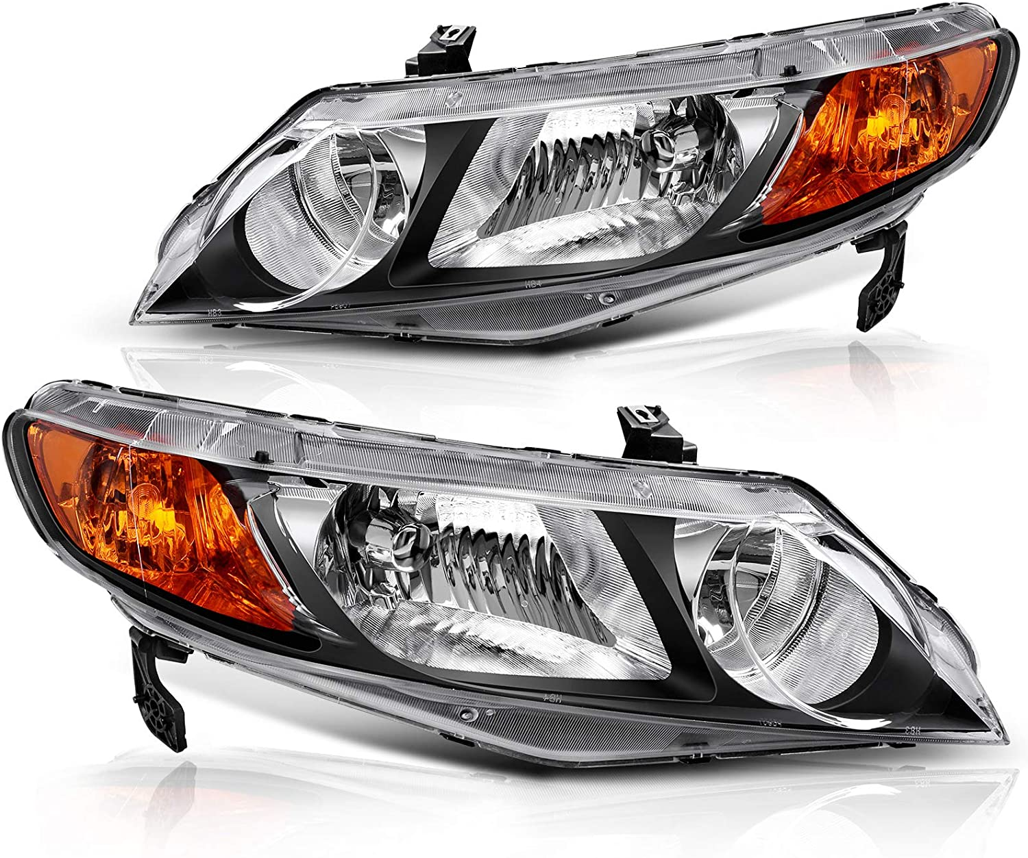Chrome Housing Amber Reflector For 2006 2007 2008 2009 2010 2011 Honda Civic Sedan 4-Door Headlight Assembly Headlamp Replacement