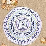 Telo Mare Rotondo Arazzo Spiaggia Coperta Stampa Tovaglia Beach Tappetino da Yoga (bianco)