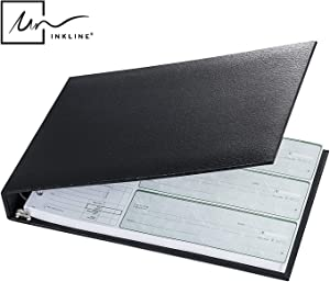Executive 7 Ring Check Binder, 500 Check Capacity, for 9x13 Inch Sheets, with 6 Year Calendar Organizer, Sleek Business Design, Premium Quality - Black (11703)