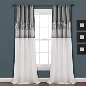 "Lush Decor Gray and White Night Sky Panel for Living, Bedroom, Dining Room (Single Curtain), 84"" x 42"""