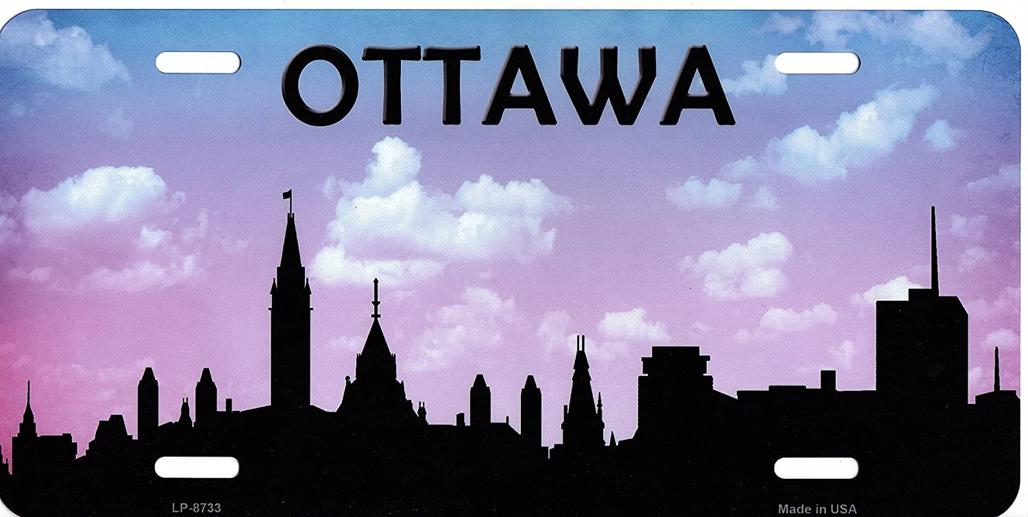 Ottawa Skyline Silhouette Metal License Plate