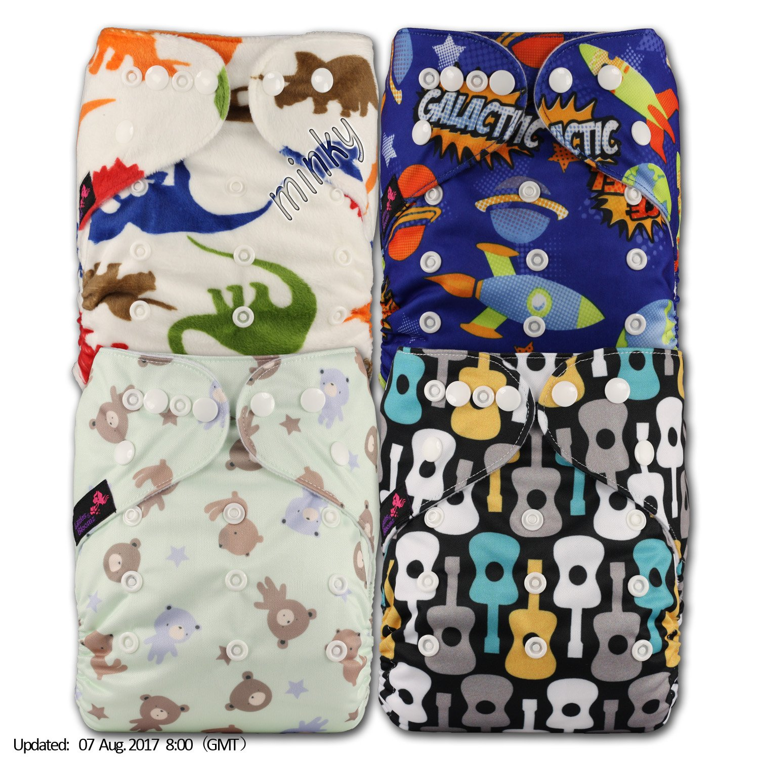 Littles & Bloomz, Reusable Pocket Cloth Nappy, Fastener: Popper, Set of 4, Patterns 410, With 4 Bamboo Inserts