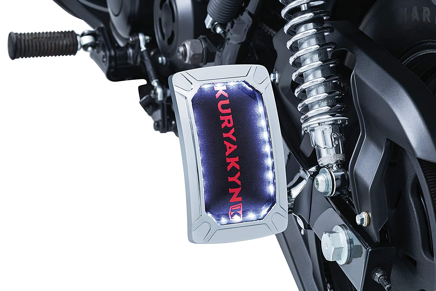 Vertical Side Mount Kuryakyn 3190 Motorcycle Accent Accessory Nova Curved License Plate Holder and Frame with Wraparound LED Illumination Lighting Chrome