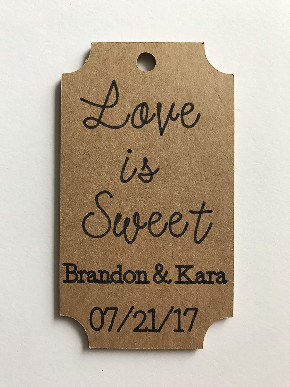 Custom Wedding Favors 3 inch Favor Tags Love is Sweet Favors Love is Sweet Wedding Decor Custom Love is Sweet Favor Tags -Kraft Favor Tags 25 Tags Wedding Shower Favors
