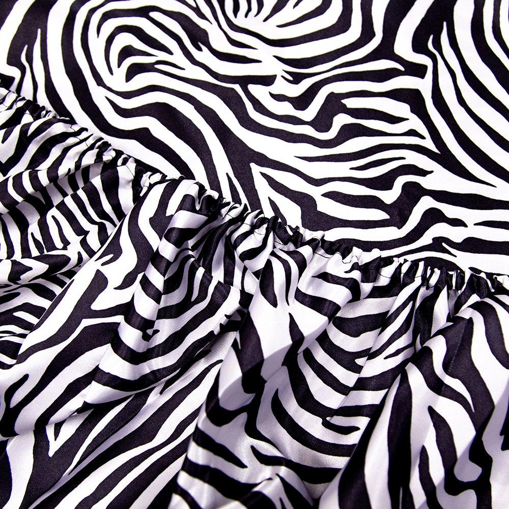 HONEYMOON HOME FASHIONS Queen Sheet Set Luxury Silkily Like Satin Bed Sheets, Zebra by HONEYMOON HOME FASHIONS (Image #4)