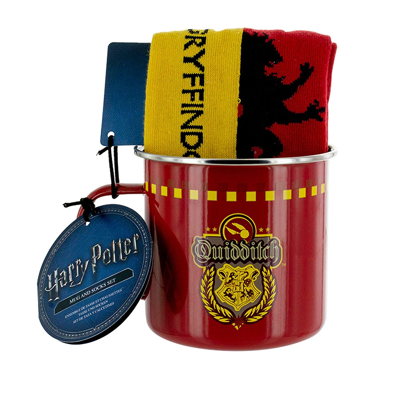 Amazon.com: Harry Potter Gryffindor Quidditch Tin Mug and Socks Set: Kitchen & Dining