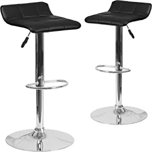Flash Furniture 2 Pack Contemporary Black Vinyl Adjustable Height Barstool with Quilted Wave Seat and Chrome Base