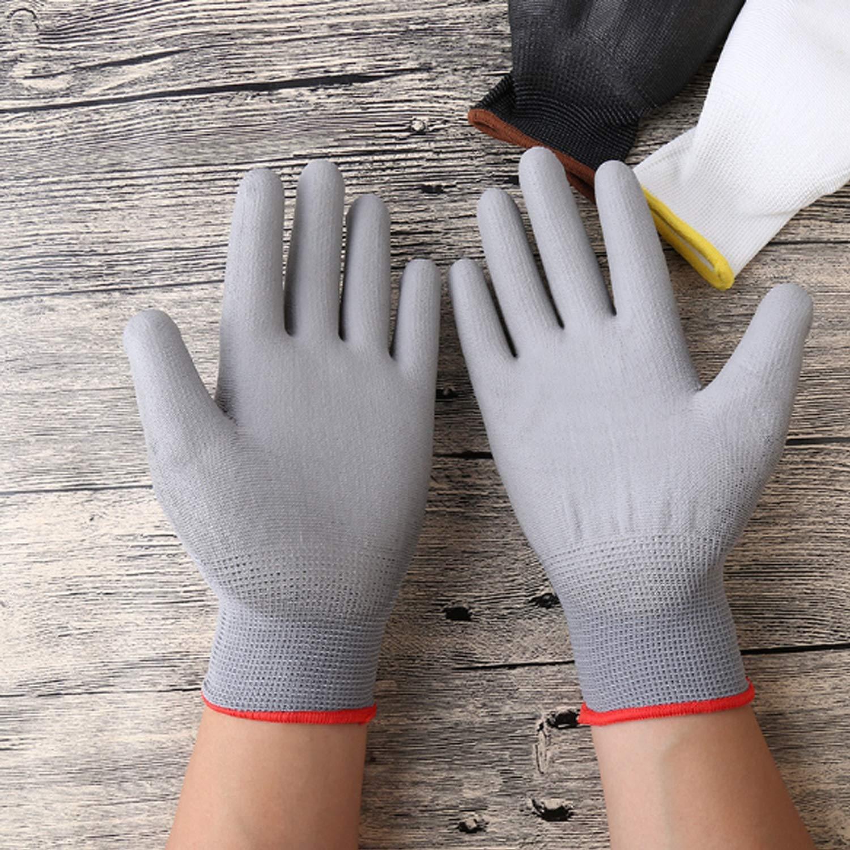 Color : Gray, Size : S-One Dozen Polyurethane//Nylon Safety Work Glove,Anti-Static Coating Palm Dipped Gloves,12 Pairs