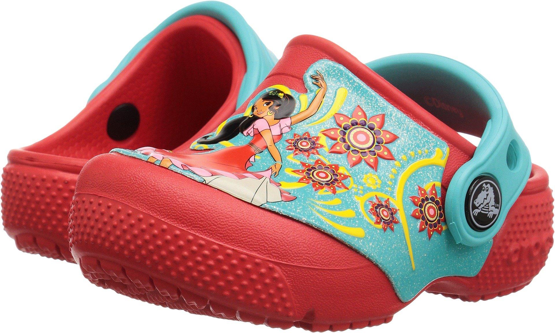 Crocs Girls' Crocsfunlab Elena of Avalor Clog, Flame, 4 M US Toddler