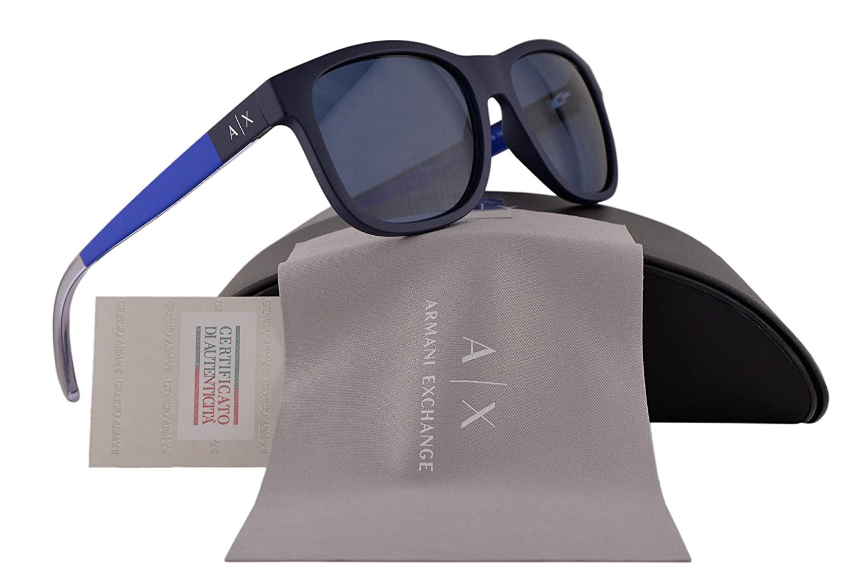 b6e9795eb12c Armani Exchange AX4054S Sunglasses Matte Navy Dark Sea w Blue Lens 815780  AX 4054S For Men  Amazon.co.uk  Clothing
