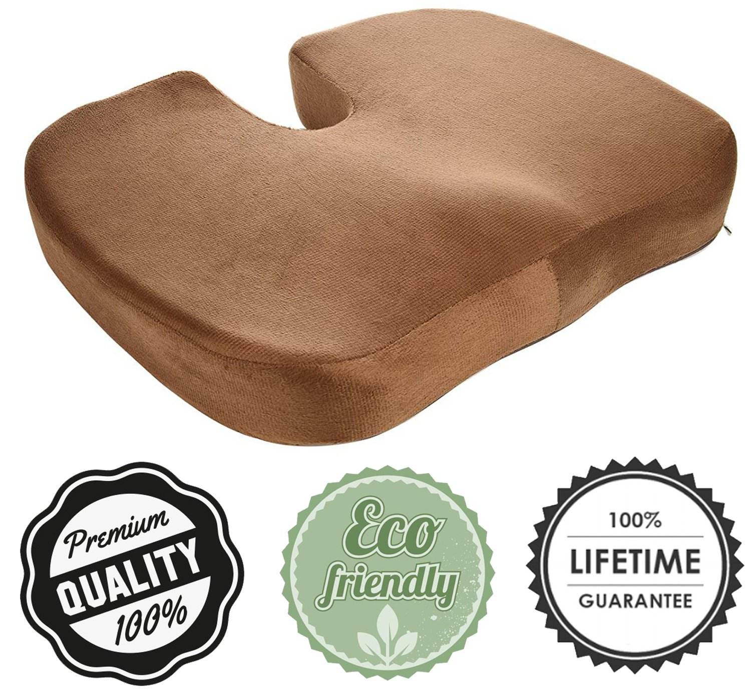 Deluxe Seat Cushion 100% Pure Memory Foam - Orthopedic Design to Relieve Back, Sciatica and Tailbone Pain - Perfect for Office Chair, Car seat - Brown Color