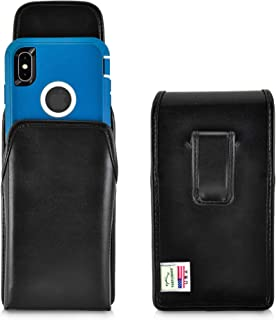 product image for Turtleback Holster Designed for iPhone 11 Pro Max (2019) / XS Max (2018) Fits with OTTERBOX Defender, Vertical Belt Case Black Leather Pouch with Executive Belt Clip, Made in USA