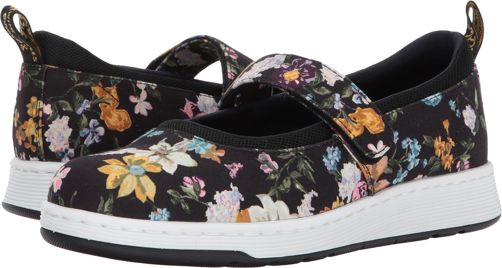 Dr. Martens Women's Askins DF Mary Jane Flat, Black Darcy Floral Fine Canvas+Sports Spacer Mesh, 7 Medium UK (9 US)