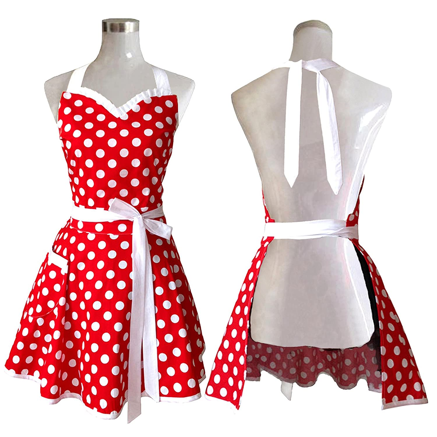 Amazon.com: Lovely Sweetheart Red Retro Kitchen Aprons Woman Girl ...