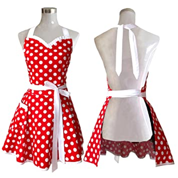 lovely sweetheart red retro kitchen aprons woman girl cotton polka dot cooking salon pinafore vintage apron. Interior Design Ideas. Home Design Ideas
