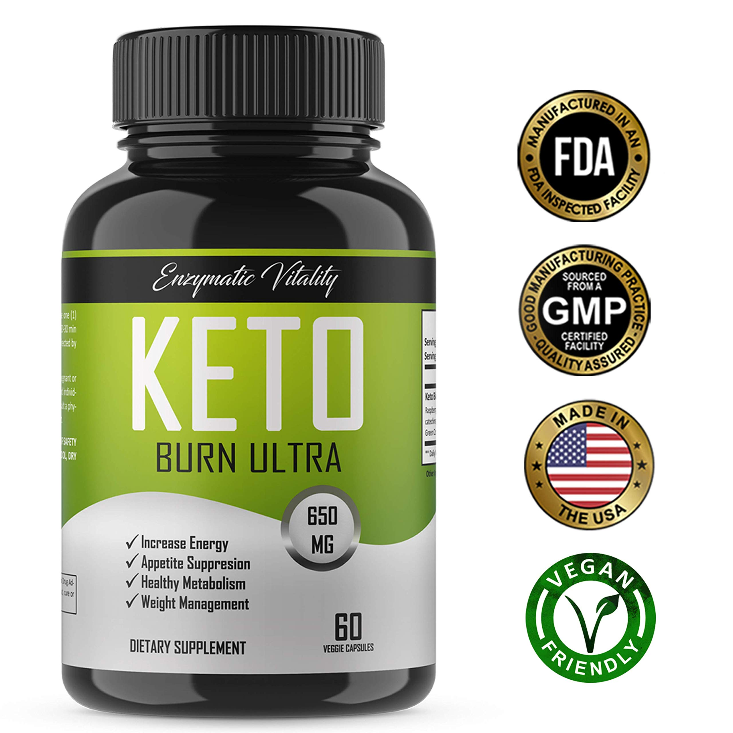 Keto Burn - All Natural Keto Diet Pills - Ketogenic Fat Burner, Vegan Friendly Weight Loss Pills with Antioxidants- Maintain Ketosis, Appetite Suppressant, Energy & Mental Clarity -Burn Fat Non GMO