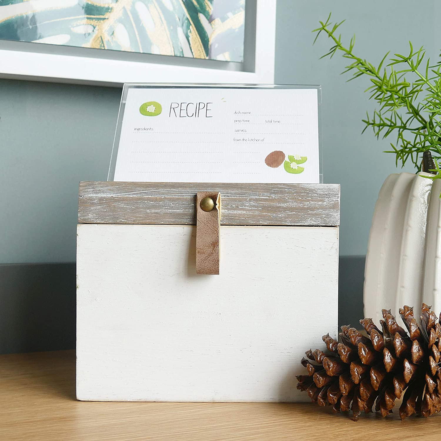 7.09 x 5.12 x 5.91 Inches NIKKY HOME Kitchen Wood Recipe Organization Box with Cards and Dividers