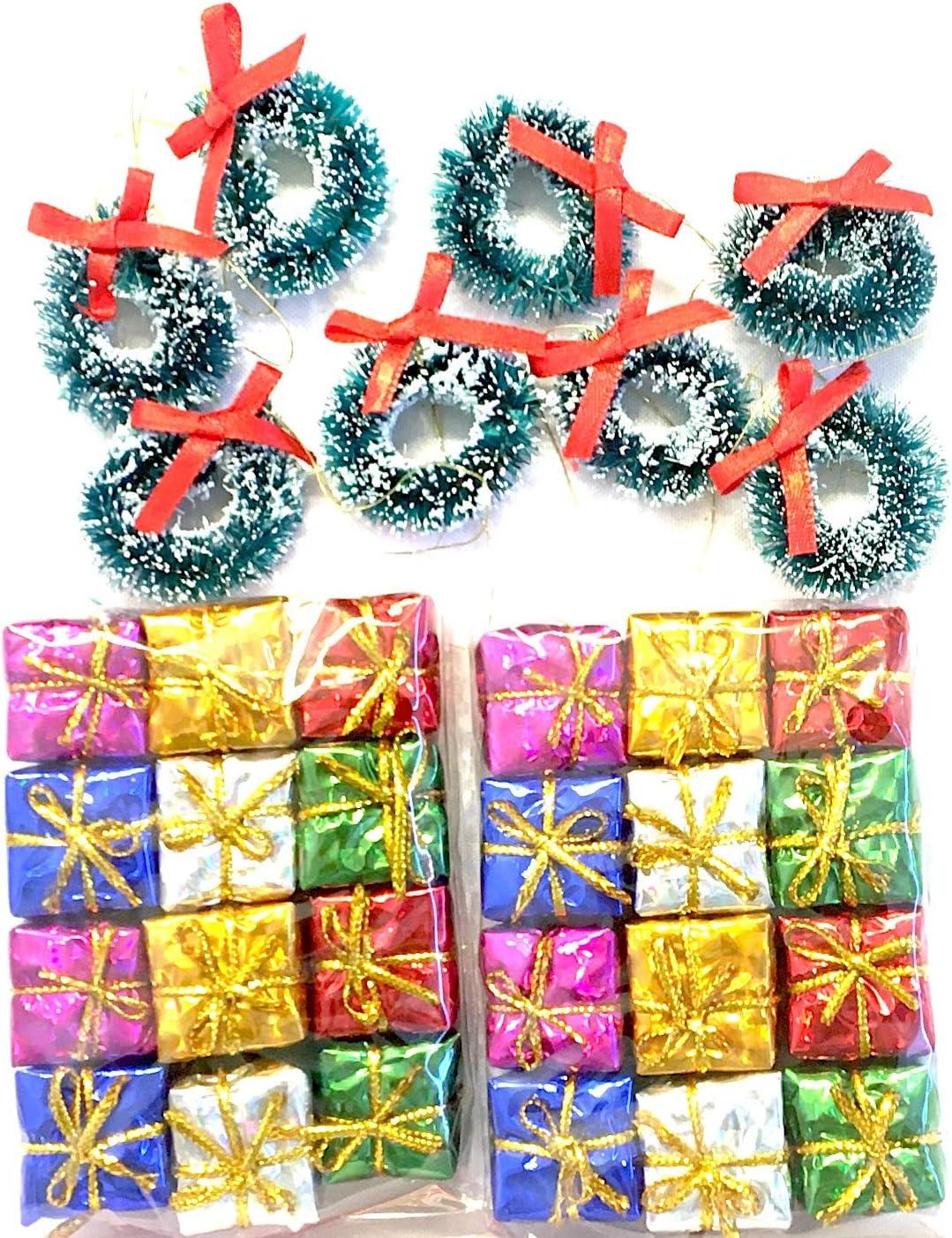 Christmas 14pc Present Bows Parcels Decorations Xmas Holo Festive Set
